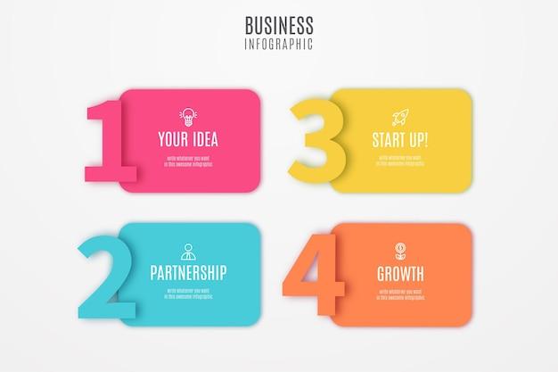 Étapes colorées d'infographie commerciale