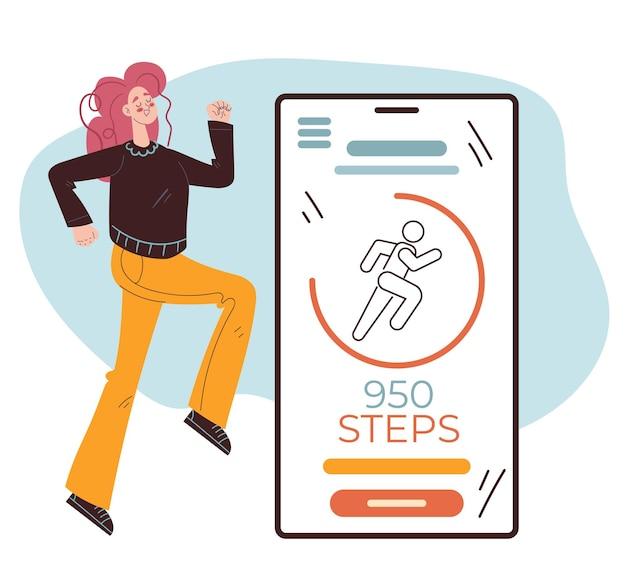 Les étapes comptent l'élément de conception d'application mobile vector illustration dessinée à la main plate