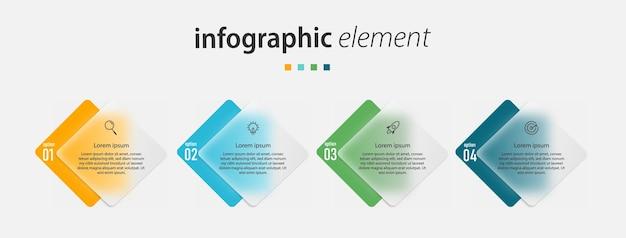 Étapes de conception infographique de la chronologie du modèle d'effet de verre transparent avec 4 options de modèle