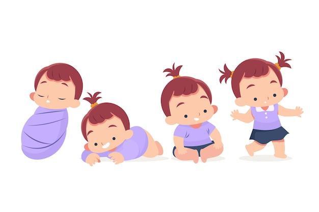 Étapes de conception à plat d'une illustration de petite fille