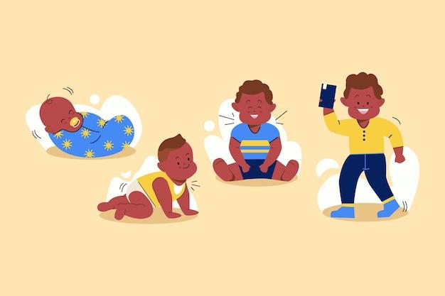 Étapes de conception à plat d'un petit garçon