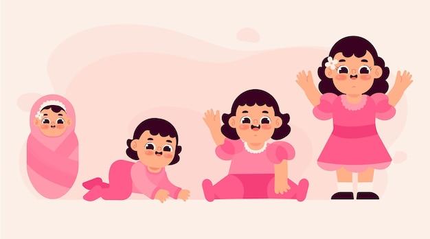 Étapes de conception plate d'une collection de bébé fille