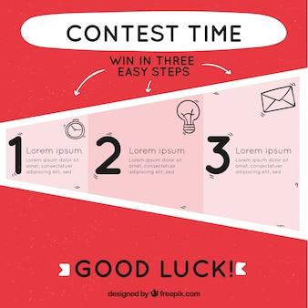 Étapes de concours de médias sociaux avec design plat