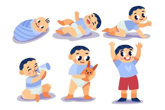 Étapes de dessin animé d'un petit garçon
