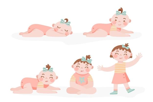 Étapes dessinées à la main d'une collection de bébé fille