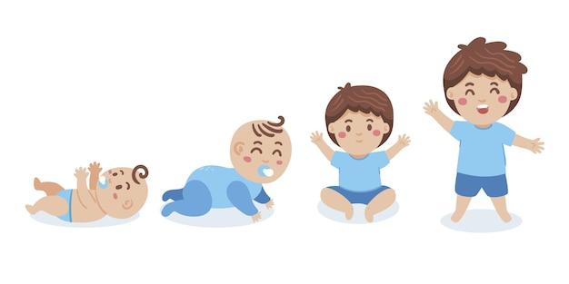 Étapes dessinées à la main d'un ensemble de bébé garçon