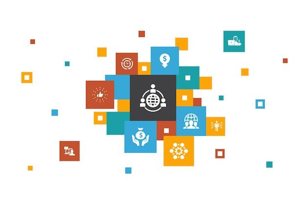 Étapes d'externalisation conception de pixels entretien en ligne processus d'affaires indépendant externaliser les icônes de l'équipe