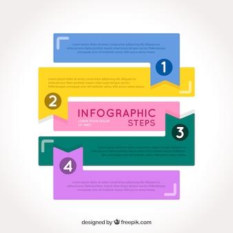 Étapes de l'infographie coloré dans un style plat