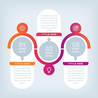 Étapes d'infographie design plat