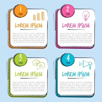 Étapes d'infographie dessinés à la main