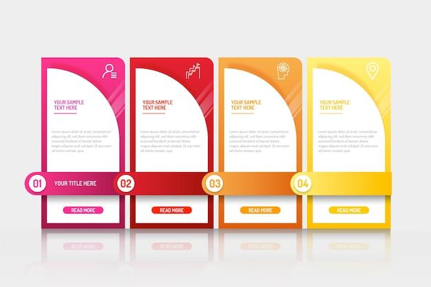 Étapes d'infographie de gradient d'affaires