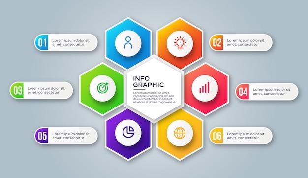 Étapes d'infographie de modèle coloré