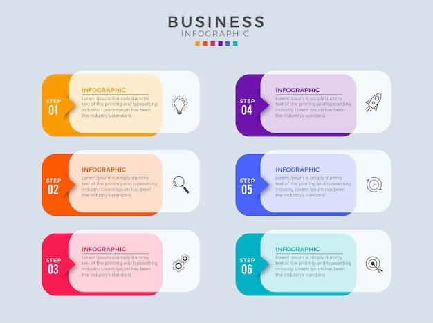 Étapes infographiques 6 design plat