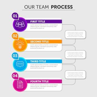 Étapes infographiques au design plat