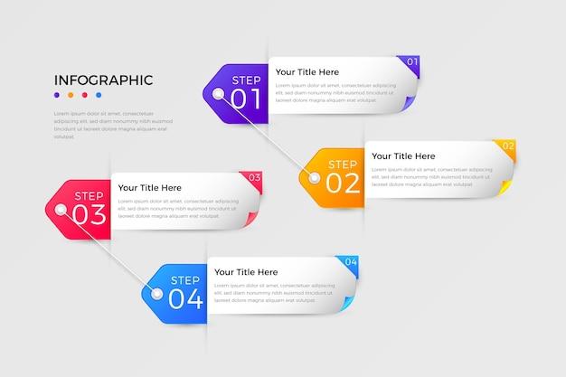 Étapes infographiques colorées dégradées