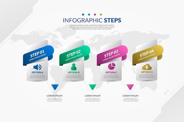 Étapes infographiques colorées