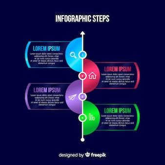 Étapes infographiques colorés avec un design plat