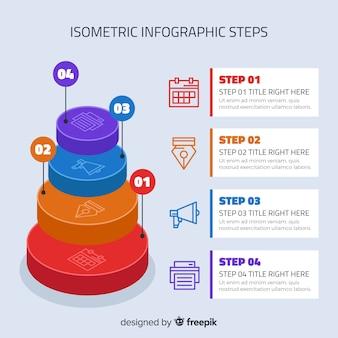 Étapes infographiques colorés avec design isométrique