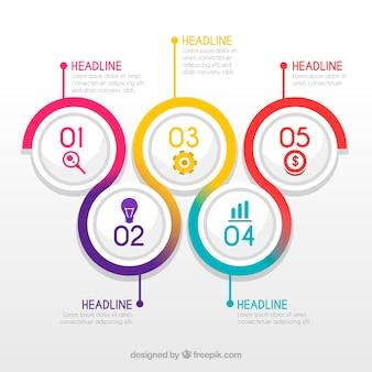 Étapes infographiques colorés