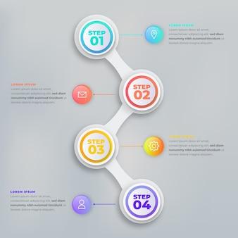 Étapes infographiques dégradé coloré