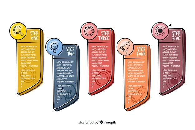 Étapes infographiques dessinés à la main