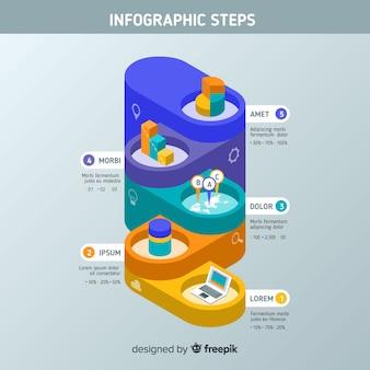 Étapes infographiques isométriques