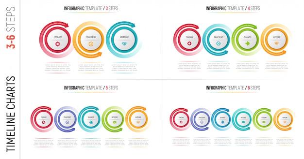 Les étapes infographiques traitent les graphiques avec des flèches circulaires.