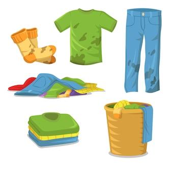 Étapes de lessive des vêtements sales