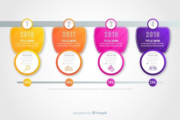 Étapes modernes d'infographie colorée