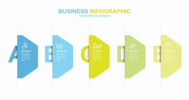 Étapes options éléments modèle d'infographie pour les applications d'interface utilisateur de site web présentation d'entreprise infographie