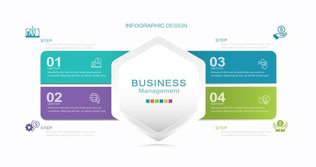 Étapes options éléments modèle infographique pour la présentation d'entreprise de site web