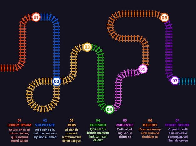 Étapes ou options infographiques avec carte et numéros de voie ferrée. présentation avec ligne de chemin de fer plate. modèle de concept de vecteur de plan d'affaires