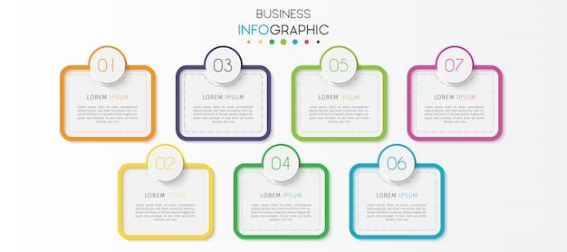 Étapes ou options timeline chart infographic element