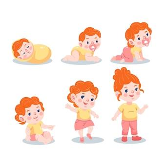 Étapes plates d'une collection de bébé fille