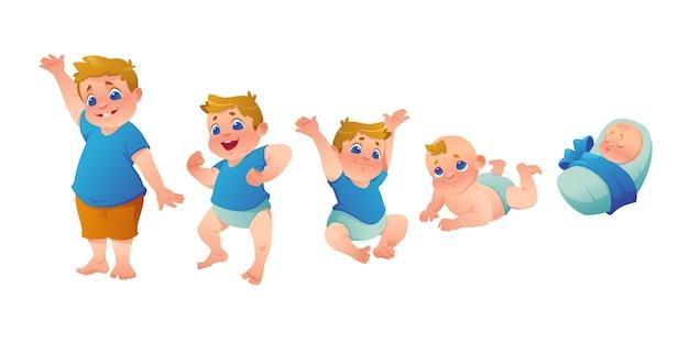 Étapes plates d'une illustration de bébé garçon