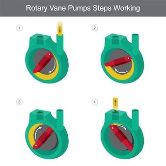 Les étapes des pompes rotatives à palettes fonctionnent.