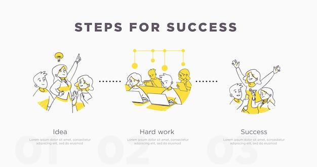 Étapes pour réussir. travail d'équipe et réalisations de la vie et concept de réussite. illustration vectorielle