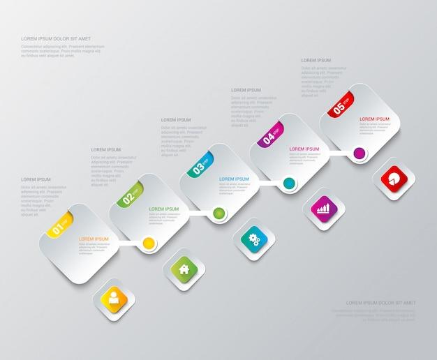 Étapes de processus d'étape multicolore sur un modèle d'infographie d'étiquettes carrées