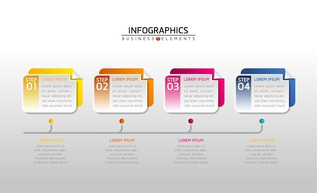 Étapes ou processus infographiques. 4 étapes.
