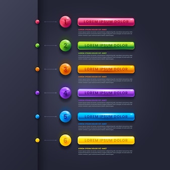 Étapes réalistes d'une infographie brillante