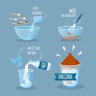 Étapes de la recette du café dalgona