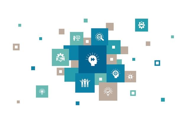 Étapes de résolution de problèmes pixel design analyse idée brainstorming travail d'équipe icônes simples