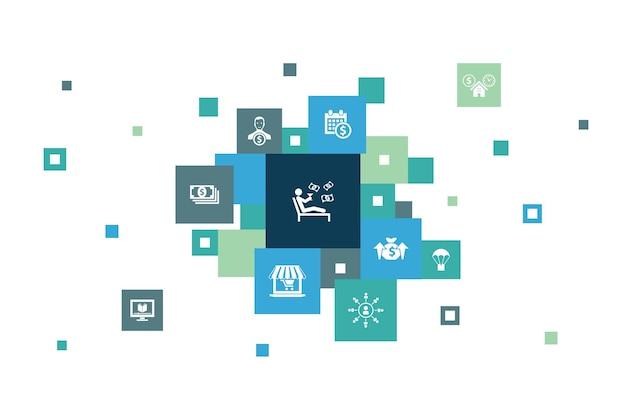 Étapes de revenu passif conception de pixels marketing d'affiliation revenu de dividende icônes de magasin en ligne