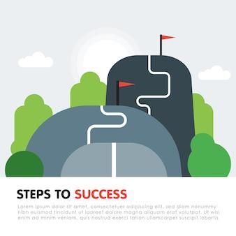 Étapes vers le concept de réussite. niveau suivant, mise à niveau de l'objectif, plus haut et mieux, motivation et amélioration, ambition à long terme, aspiration future, illustration vectorielle à plat.