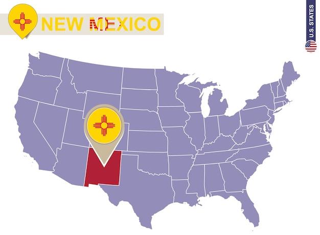 État du nouveau-mexique sur la carte des états-unis. drapeau et carte du nouveau-mexique. états américains.
