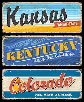 Les états américains du kentucky, du kansas et du colorado signent une destination de voyage