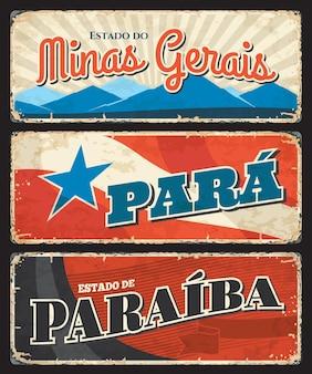 États de paraiba, para et minas gerais