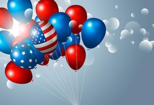 Etats-unis 4 juillet fête de l'indépendance avec des ballons