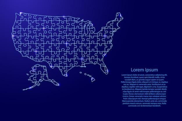 États-unis d'amérique, carte des états-unis à partir de puzzles composés de motifs bleus et d'étoiles de l'espace rougeoyantes.