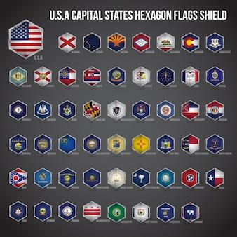 Etats-unis d'amérique etats de la capitale hexagon flags shield